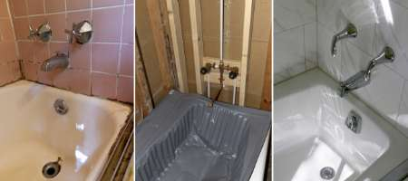 bathroom renovation before after of bath tub